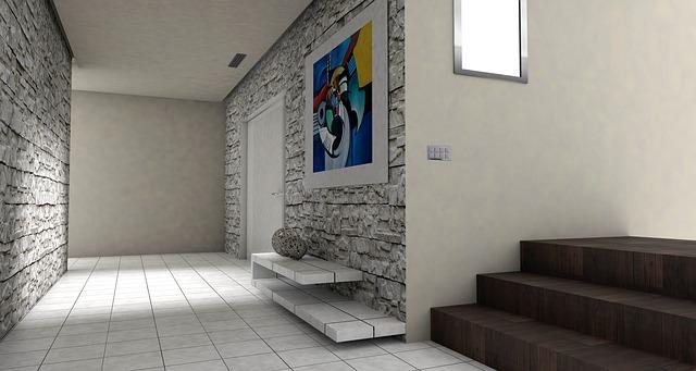 tmavé schody, barevný obraz, moderní interiér